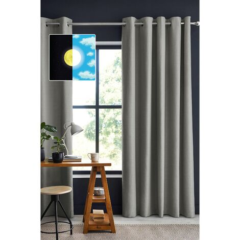 Rideau 100% occultant luxe 140 x 260 cm Obscure Gris clair