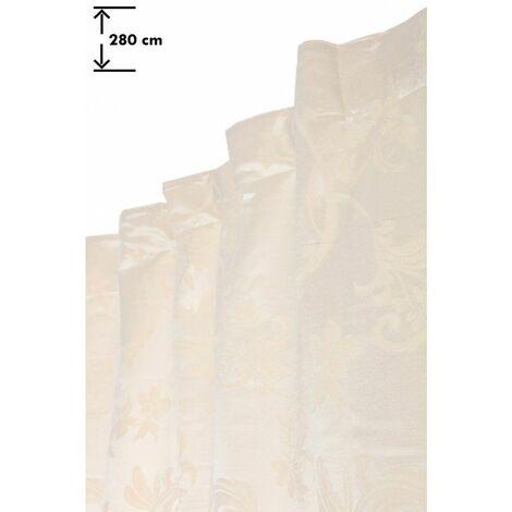 Rideau 135 x 280 cm à Galon Fonceur Grande Hauteur Jacquard Motif Floral Vignes Ton sur Ton Écru Ecru - Ecru