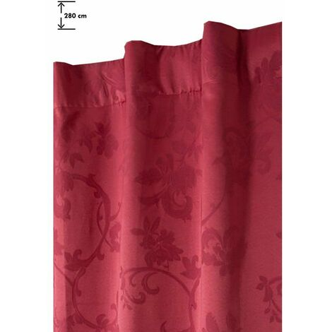 Rideau 135 x 280 cm à Galon Fronceur Jacquard Motif Floral Rouge Rouge - Rouge