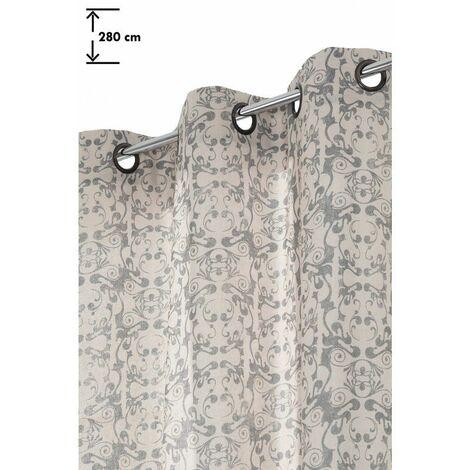 Rideau 138 x 280 cm à Oeillets Grande Hauteur Motif Imprimé Arabesques Vintage Anthracite Naturel - Naturel