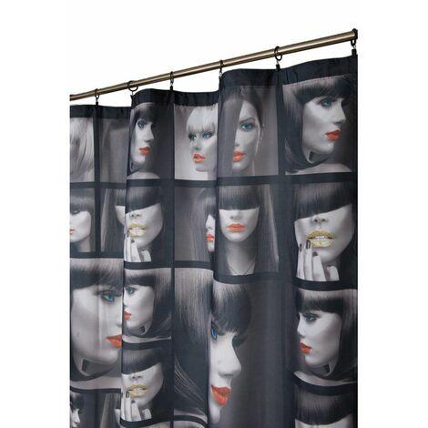 Rideau 140 x 260 cm à Galon Fronceur Imprimé Motif Glamour Noir Noir - Noir