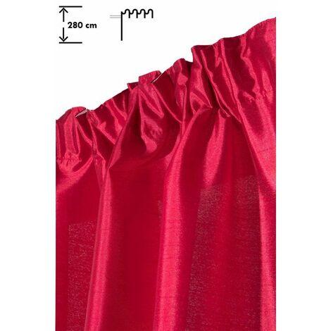 Rideau 140 x 280 cm à Galon Fronceur Grande Hauteur Brillant Effet Soie Rouge Rouge - Rouge