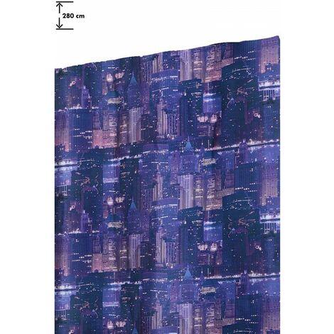 Rideau 140 x 280 cm à Galon Fronceur Grande Hauteur Imprimé Motif New York Multicolore Multicolore - Multicolore