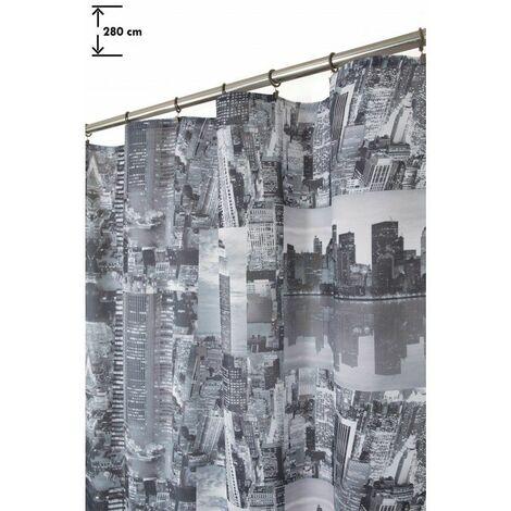 Rideau 140 x 280 cm à Galon Fronceur Grande Hauteur Imprimé Tendance City Gris Gris - Gris