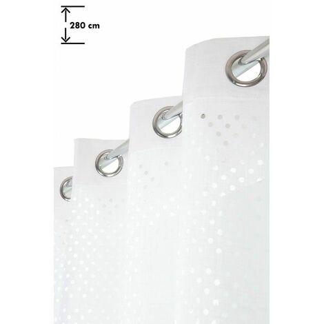 Rideau 140 x 280 cm à Oeillets Grande Hauteur Ajouré Motif Lasercut Uni Blanc Blanc - Blanc