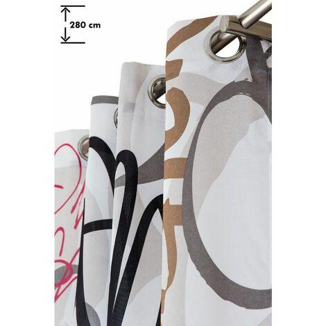 Rideau 140 x 280 cm à Oeillets Grande Hauteur Imprimé Tag Graffiti Multicolore Urbain Blanc Blanc - Blanc
