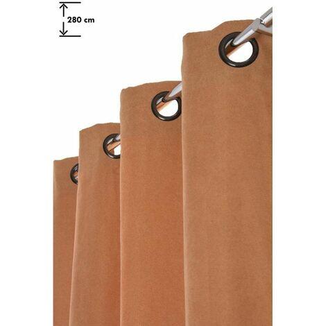 Rideau 140 x 280 cm à Oeillets Grande Hauteur Mat Couleur Rouille Orange - Orange