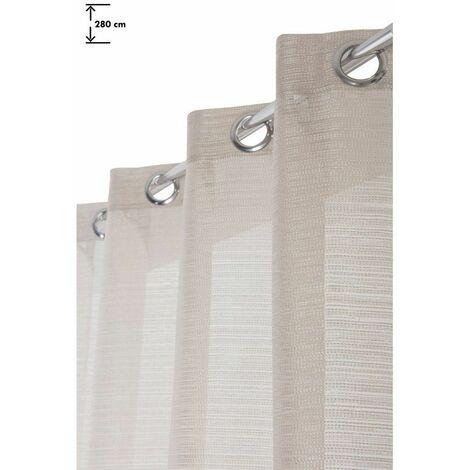 Rideau 140 x 280 cm à Oeillets Grande Hauteur Mat Trame Effet Pointillés Ecru Ecru - Ecru