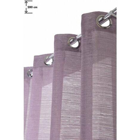 Rideau 140 x 280 cm à Oeillets Grande Hauteur Mat Trame Effet Pointillés Violet Violet - Violet