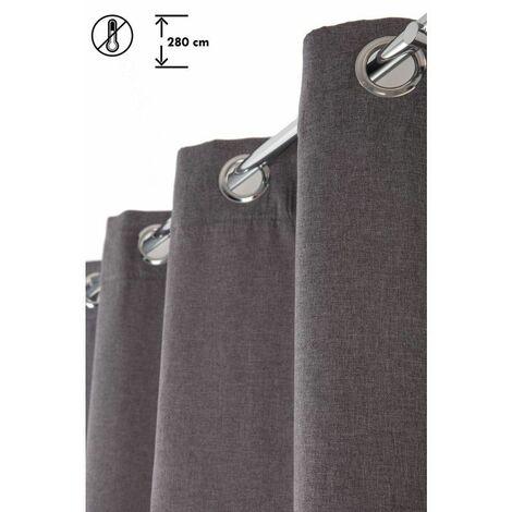 Rideau 140 x 280 cm à Oeillets Thermique Grande Hauteur Mat Anti-Froid Uni Anthracite Gris - Gris