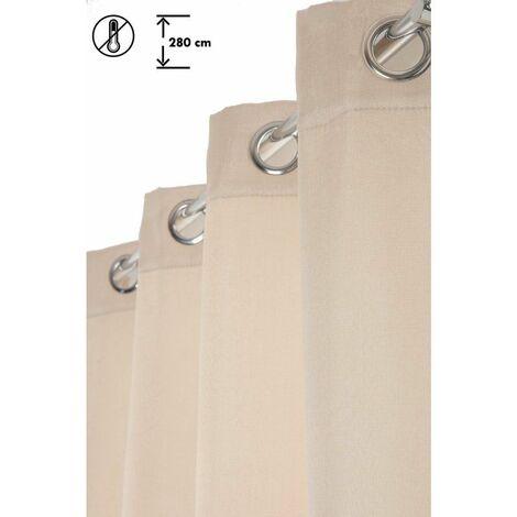 Rideau 140 x 280 cm à Oeillets Thermique Grande Hauteur Mat Anti-Froid Uni Ecru Ecru - Ecru