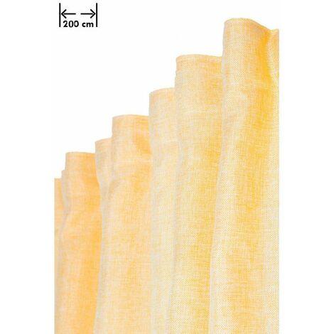Rideau 200 x 270 cm à Galon Fronceur Grande Largeur Effet Lin Chiné Naturel Jaune Jaune - Jaune