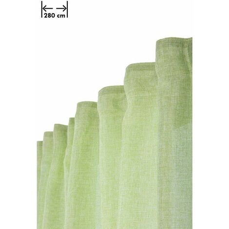 Rideau 200 x 270 cm à Galon Fronceur Grande Largeur Effet Lin Chiné Naturel Vert Vert - Vert