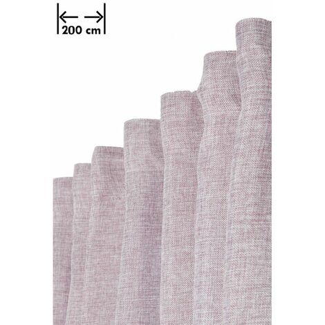 Rideau 200 x 270 cm à Galon Fronceur Grande Largeur Effet Lin Chiné Naturel Violet Violet - Violet