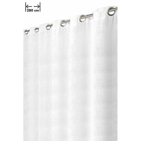 Rideau 280 x 238 cm 14 Oeillets Aspect Lin Lourd Grande Largeur Style Rustique-Moderne Blanc Blanc - Blanc