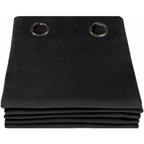 Rideau 3-en-1 Phonique Velours Venise Moondream Noir en 130 x 260 (LxH), finition Œillets