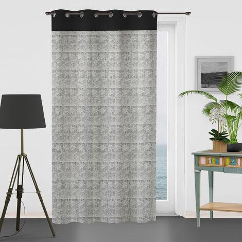 Rideau à motifs graphiques en 100% coton Noir 135 x 250 cm - Noir