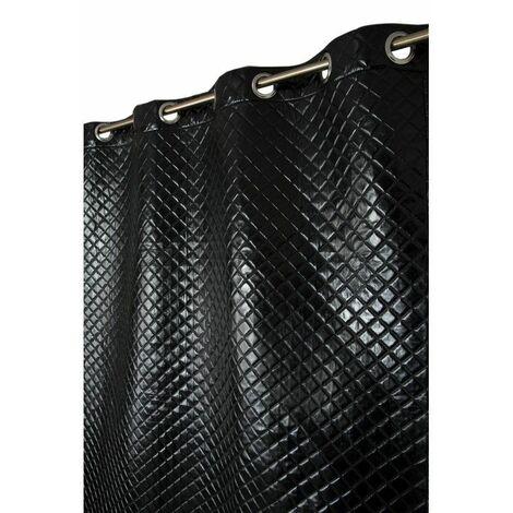 Rideau à Oeillets 130 x 250 cm Faux Cuir Effet Matelassé Noir Noir - Noir
