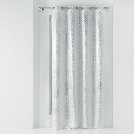Rideau a oeillets 135 x 240 cm occultant imprime metallise genesis Blanc/argent