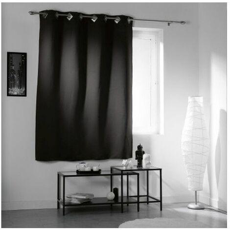 Rideau à oeillets occultant 140 x 180 cm - Noir - Panneau isolant - Livraison gratuite