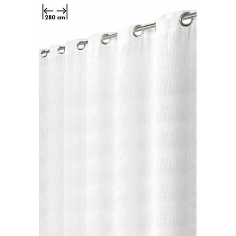 Rideau Aspect Lin Lourd Grande Largeur 14 Oeillets 280 x 238 cm Style Rustique-Moderne Blanc Blanc - Blanc