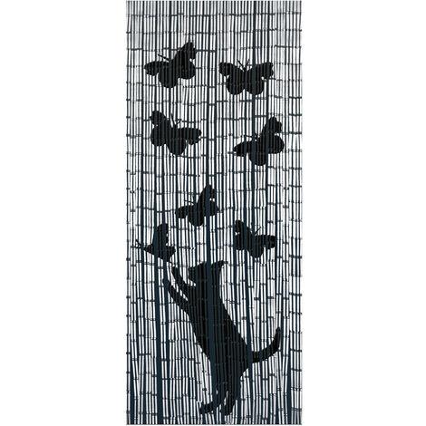 Rideau bambou, rideau de porte, Chat et Papillon WENKO