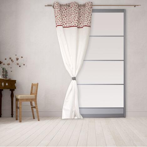 Rideau brodé à parement fleuri Blanc 140 x 240 cm - Blanc
