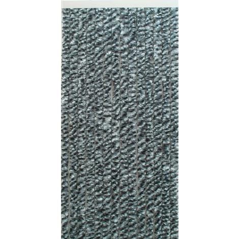 Rideau chenille de porte synthétique Flash Morel - Largeur 90 cm - Chiné noir, gris et blanc