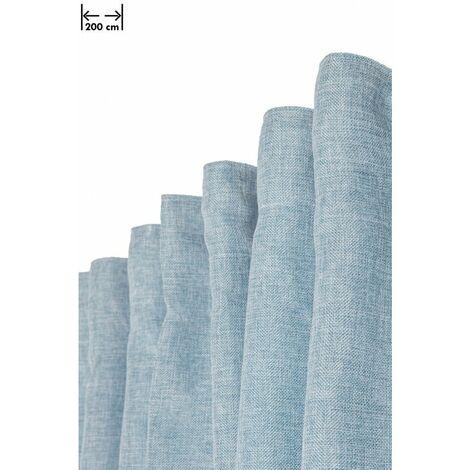 Rideau Chiné 200 x 270 cm Grande Largeur Grande Hauteur Galon Fronceur Effet Lin Naturel Bleu Bleu - Bleu