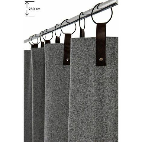 Rideau Contemporain 140 x 280 cm à 8 Anneaux Grande Hauteur Style Industriel Feutrine Gris Gris - Gris