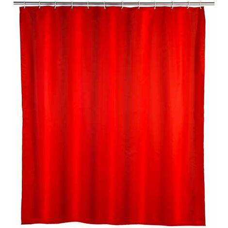 Rideau de douche anti-moisissure rouge WENKO