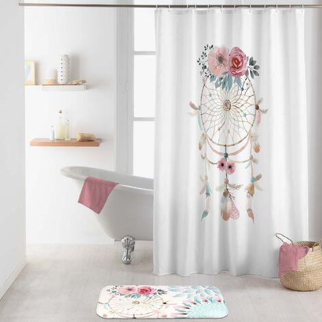 rideau de douche avec crochets 180 x 200 cm polyester imprime Oiti