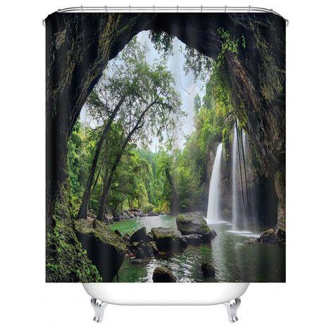 Rideau de douche Cascade de paysage 180x180 cm