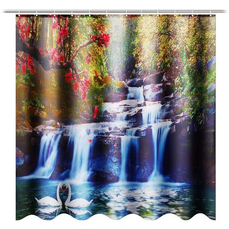 Rideau de douche Cascade en Polyester Imperméable avec 12 Crochets 180x180cm Hasaki