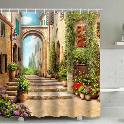 Rideau de douche de salle de bain de perle rare, corps de fleurs, avec 12 rideaux de douche (180x200cm)