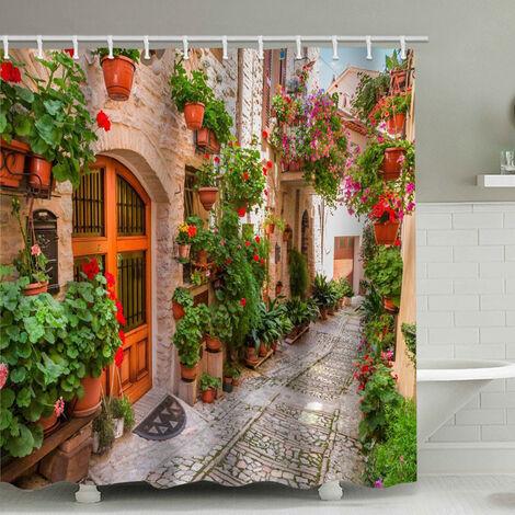Rideau de douche de salle de bains perle rare, arc mural de briques, avec 12 bagues de rideau de douche (180x200cm)