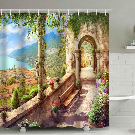 Rideau de douche de salle de bains perle rare, route de fleurs, avec 12 bagues à rideau de douche (180x200cm)