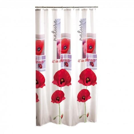 rideau de douche design en polyester rouge 1098192hb67428. Black Bedroom Furniture Sets. Home Design Ideas