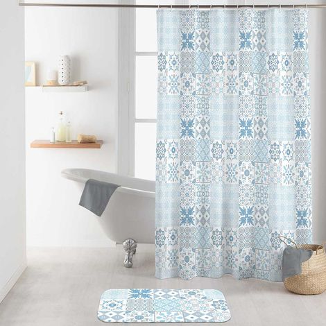 rideau de douche effet carreaux de ciment bleu. Black Bedroom Furniture Sets. Home Design Ideas