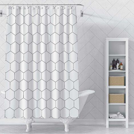 Rideau de douche en tissu hexagonal pour salle de bain, décor de bain moderne avec crochets, qualité hôtelière, 72 x 72 pouces, noir et blanc (blanc)