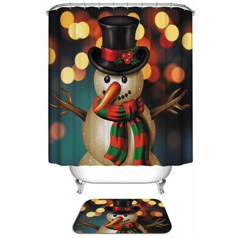 Rideau de douche imperméable décoratif en polyester de bonhommes de neige de No?l + 12 crochets No?l