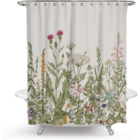 Rideau de douche imperméable rare perle, fleurs colorées, rideau de douche séparez-vous de douche baignoire 165 * 180cm
