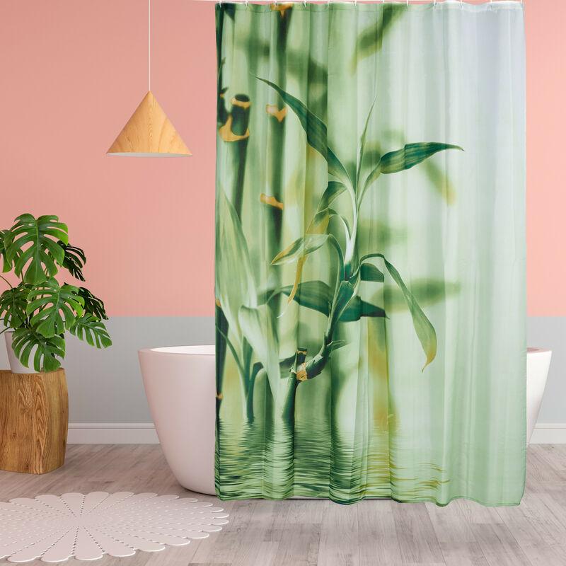 Rideau de douche motif bambou en polyester tissu vert lavable 180 x 200  baignoire, vert