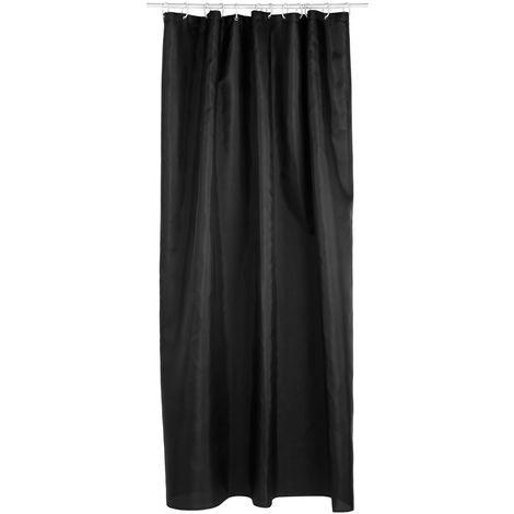 Rideau de douche - Polyester - 180 x 200 cm - Noir - Noir
