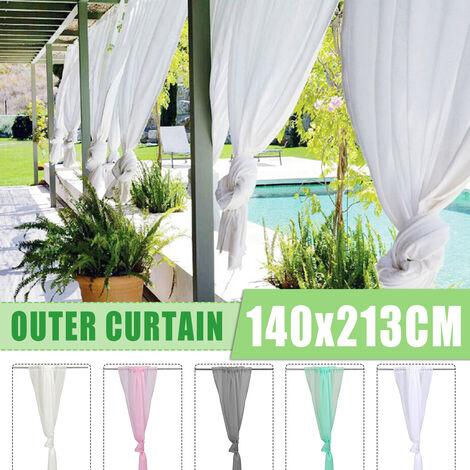 Rideau de fenêtre extérieur lumière du soleil occultant drapé imperméable patio mariage jardin blanc blanc
