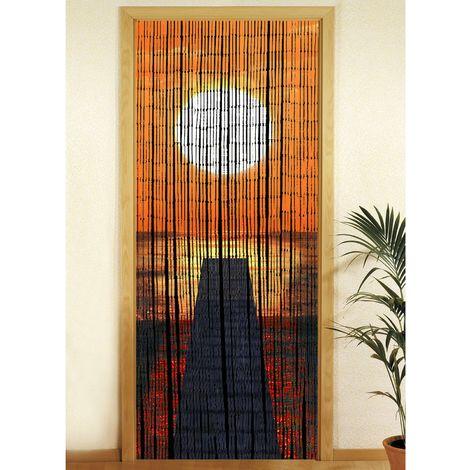 Rideau de porte - Bambou - Coucher de soleil - Orange
