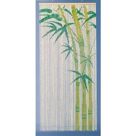 Rideau de porte - Bambou peint motif Bambou Morel - 90 x 200 cm - Beige