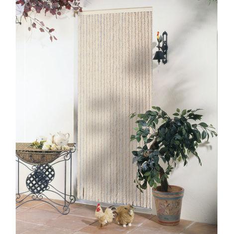Rideau de porte chenille Florence Beige - 120 x 220 cm