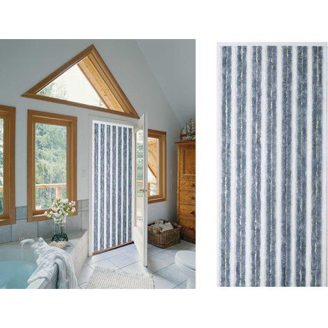 Rideau de porte chenille Florence Gris Blanc - 90 x 220 cm