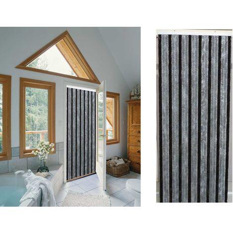Rideau de porte chenille Florence Gris Noir - 90 x 220 cm